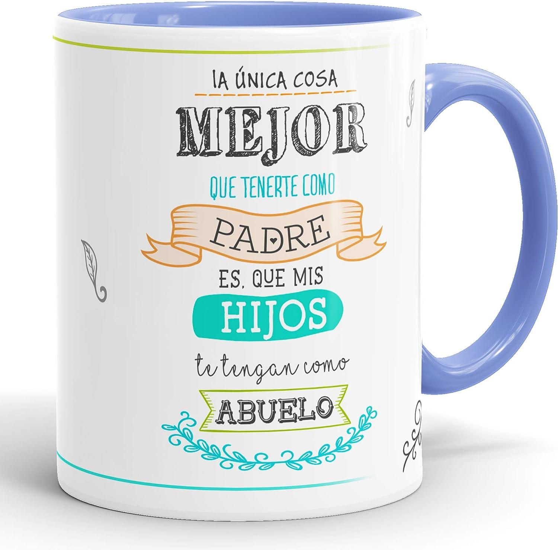 REGALOS ESTRELLA AZUL Taza Abuelo, Regalos para Abuelo Originales, Taza Desayuno Abuelos, Regalo Abuelos, Regalo para el Abuelo. (Mejor Abuelo Mundo)