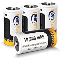 Rechargeable D Batteries, Keenstone Ni-MH D Cell Battery 10000mAh 1.2V (4 Pack)