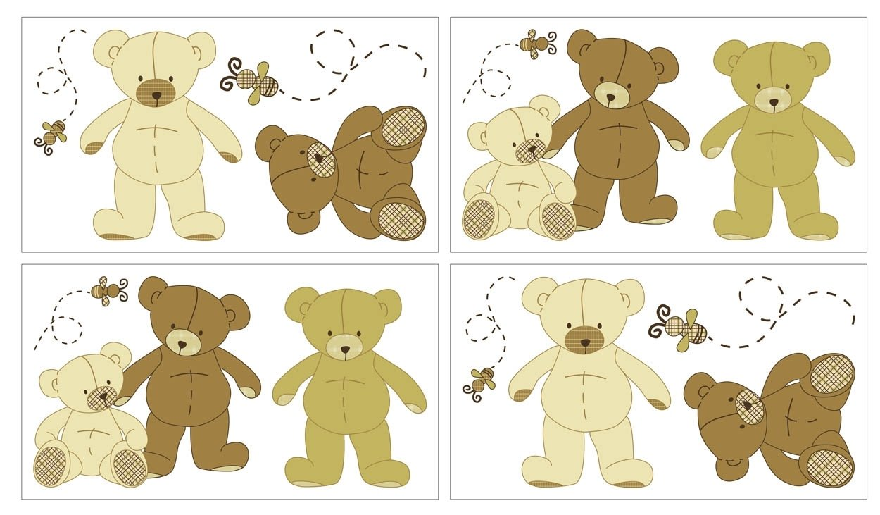 Eddie Bauer - Teddy Bear Wall Decals, Brown (Discontinued by Manufacturer)