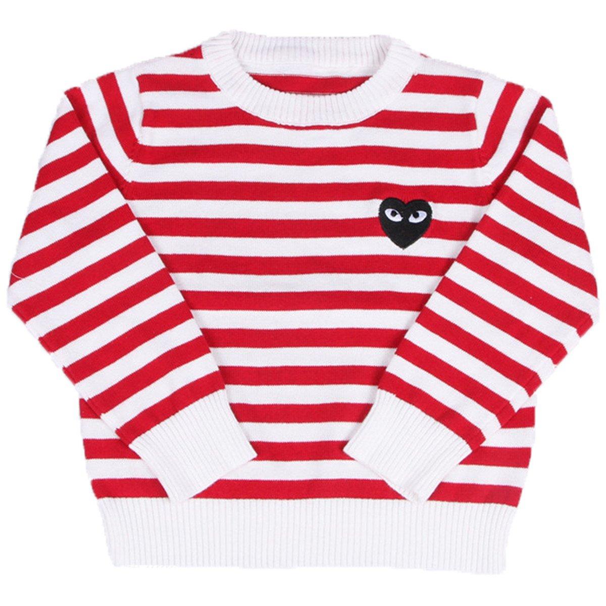FAIRYRAIN Little Girls Round Neck Striped Fine Knit Basic Solid Fine Knit Warm Sweatshirt Pullover