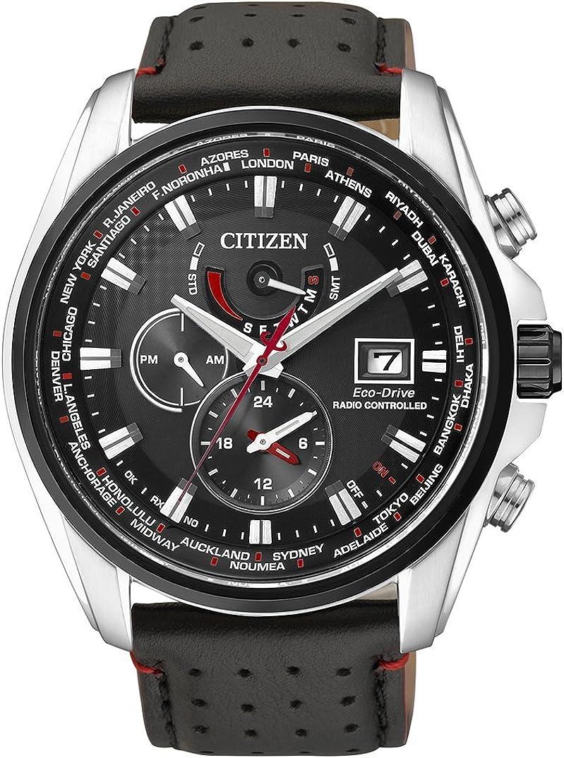 Citizen AT9036-08E - Reloj para hombres, correa de cuero, color negro