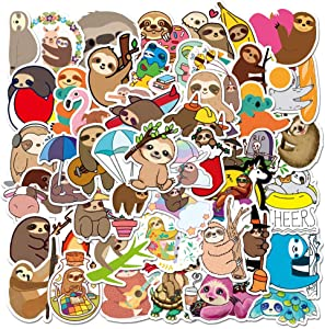 50 Pcs Cute Cartoon Animals Sloth Stickers for Kids Boys Girls Teens Toddlers, Funny Trendy Vinyl Waterproof Sloth Decals Stickers Pack for Laptop Waterbottle MacBook Flasks Computer Bike Guitar.