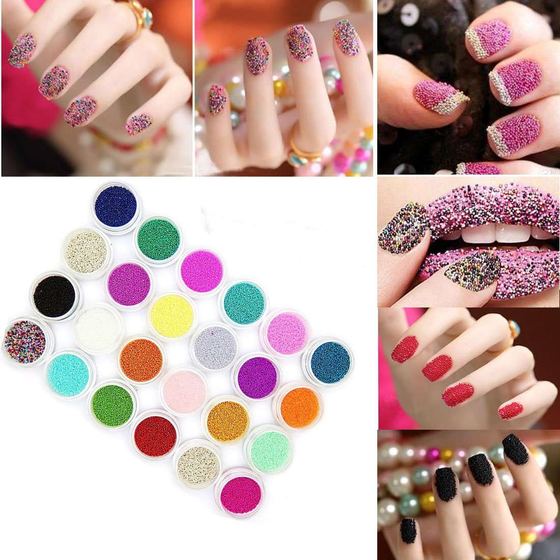 Lookathot 24 Colors Nail Art Dust Glitter Powder DIY Decoration UV Acrylic Gel Tips Laser Flashing Powder Bead Velvet Shell Sequins Decor Accessories NS06