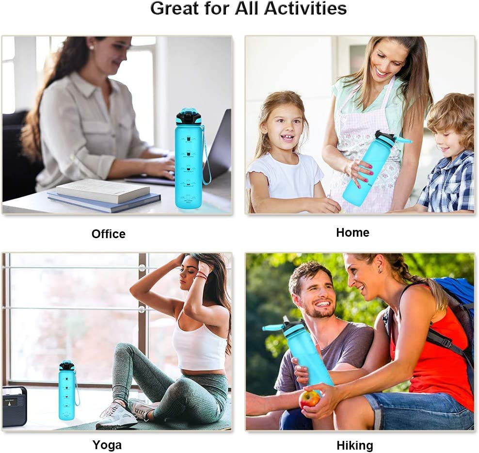 Taspire 1 Litre Time Marked Water Bottle with Straw Leakproof BPA-free Tritan Water Bottle with Time Markings Green Motivational Water Bottle with Times to Drink