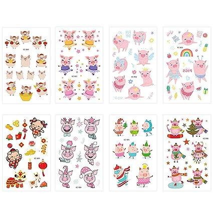 8 pegatinas temporales de tatuaje, dibujos animados, año cerdo ...