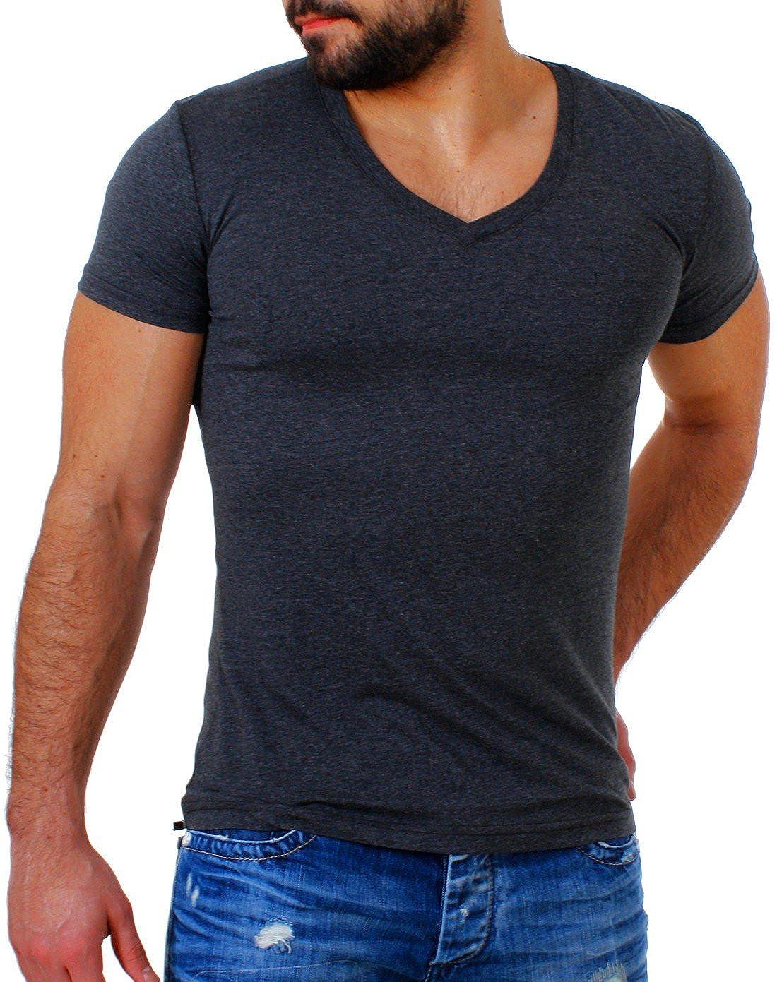 c497b9fe02eb Young Rich Herren Uni Basic T-Shirt mit tiefem V-Ausschnitt deep V-Neck  einfarbig Slimfit 1875  Amazon.de  Bekleidung
