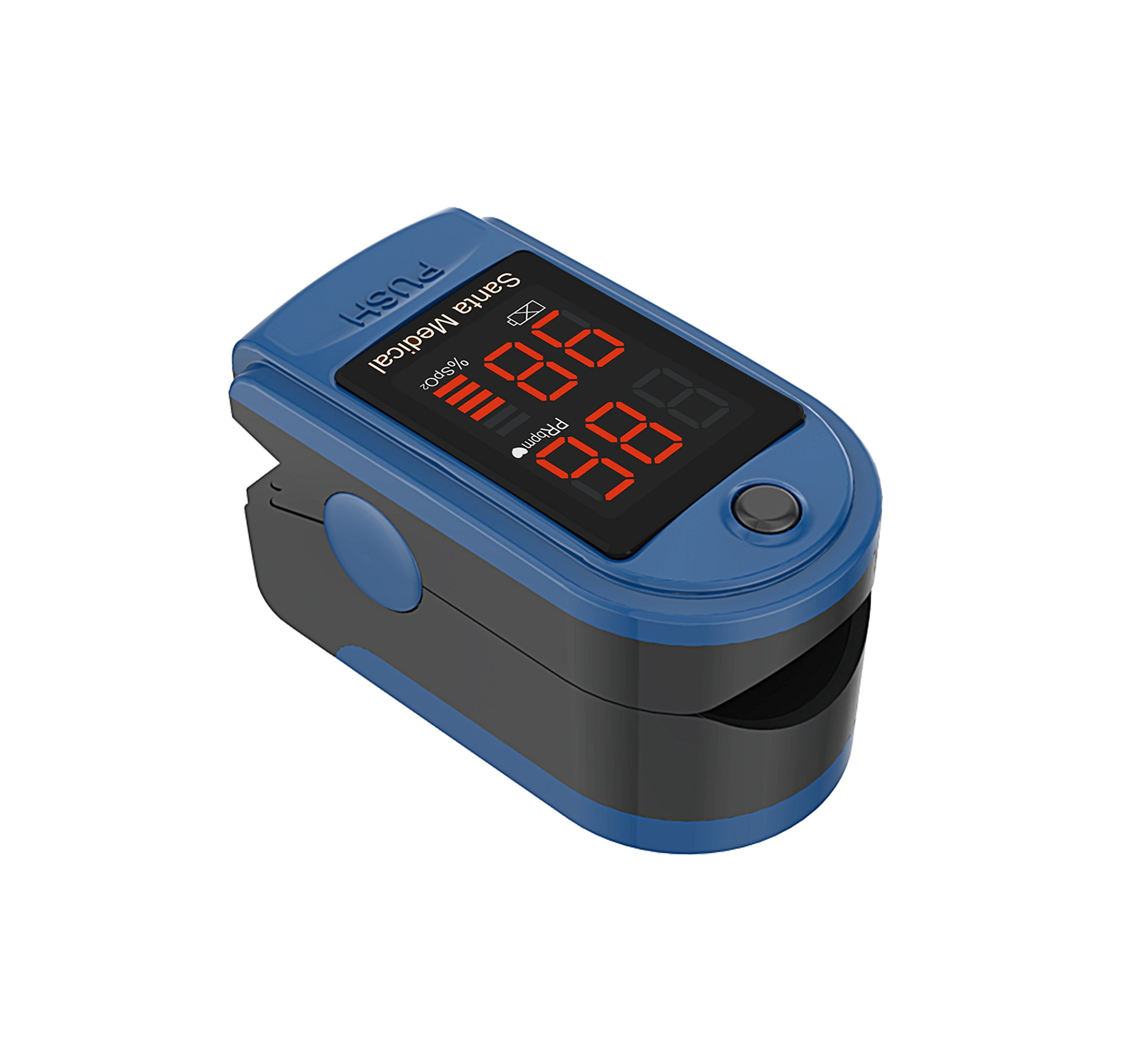 Santamedical Generation 2 Fingertip Pulse Oximeter Oximetry Blood Oxygen Saturation Monitor with carrying case, batteries and lanyard - Blue