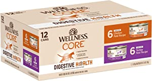 Wellness Natural Pet Food CORE Digestive Health Chicken & Turkey Pate Variety Pack Wet Cat Food, 3-Ounce, Pack of 12 (6140)