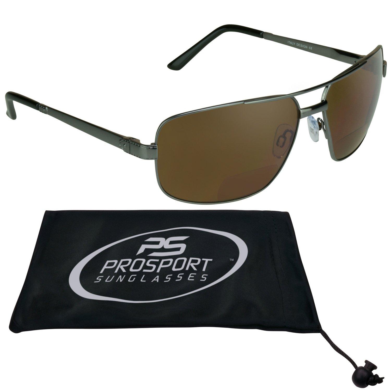 e969288b32c Amazon.com  Square Aviator Polarized Bifocal Sunglasses for Men.  Clothing