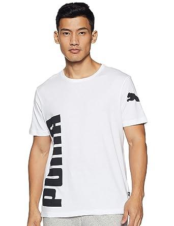 PUMA - Tela de algodón Blanco con impresión Negra Blanco S: Amazon ...