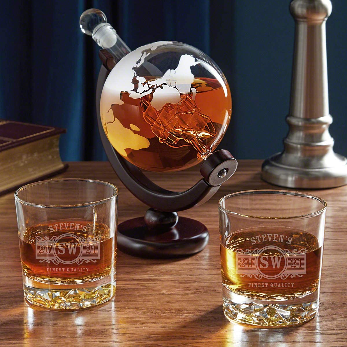 Marquee Personalized Fairbanks Glasses with Globe Decanter Set Custom Gift