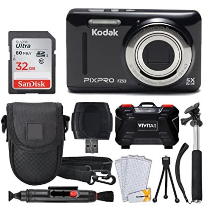 Kodak PIXPRO FZ53 Digital Camera (Black) + 32GB Memory Card + Deluxe Point  and Shoot Camera Case + Extendable Monopod + Lens Cleaning Pen + LCD Screen