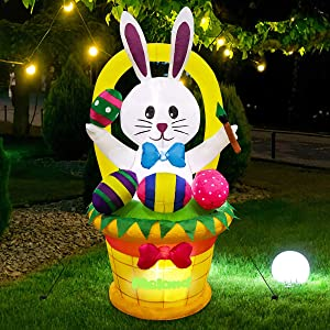 Meland Easter Inflatable Decorations 4.5FT - Inflatable Easter Bunny with Basket & Colorful Eggs - Easter Blow up Décor with Light for Party Indoor Outdoor, Yard, Garden, Lawn