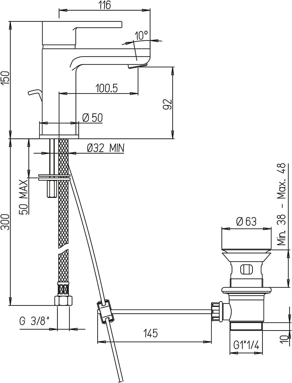 vidage Automatique 11//4 Pa/ïni Arena 92/cR211/Mitigeur monotrou lavabo