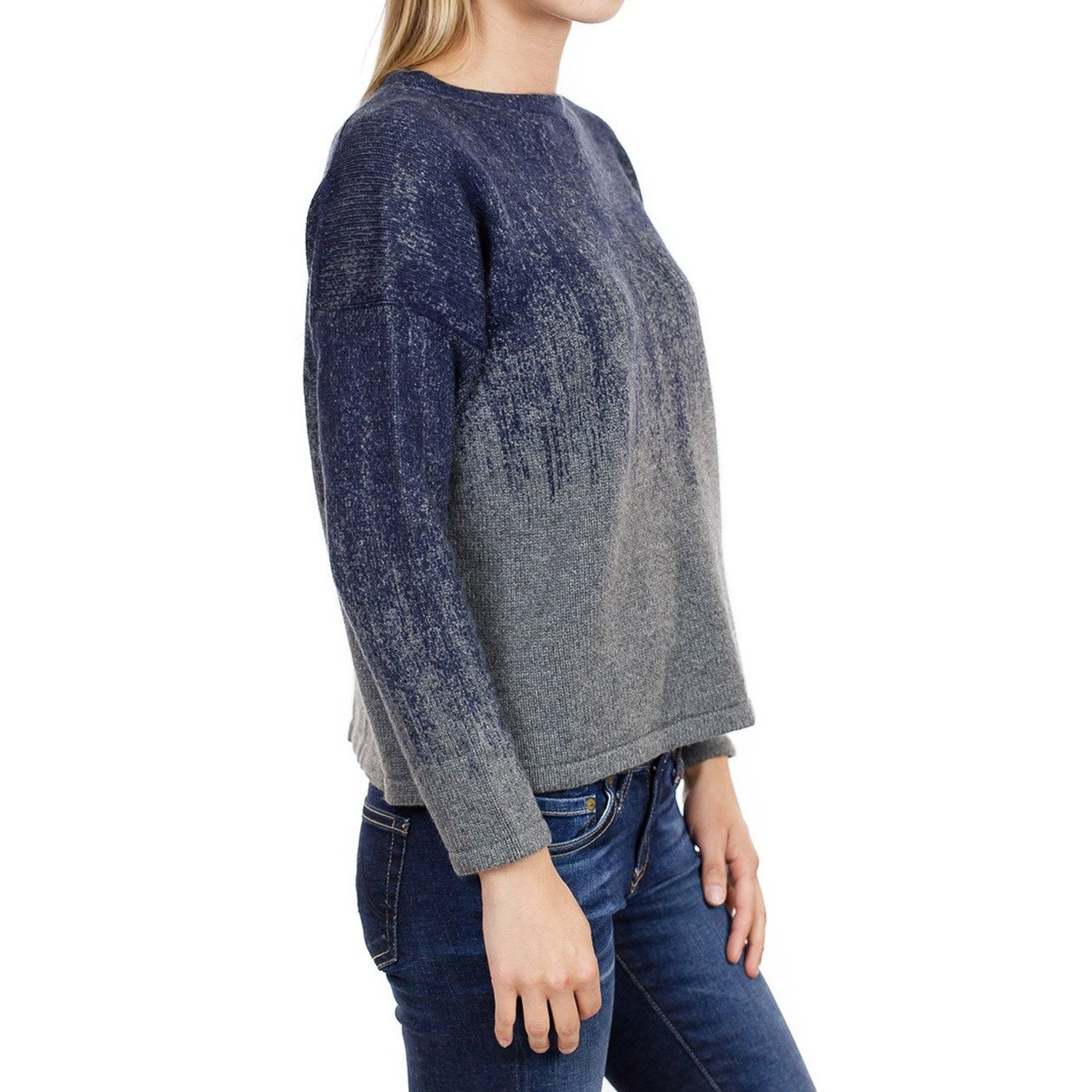 Fine Collection Womens Ombre Crewneck Sweater Heather Grey/Navy XS by Fine Collection (Image #2)