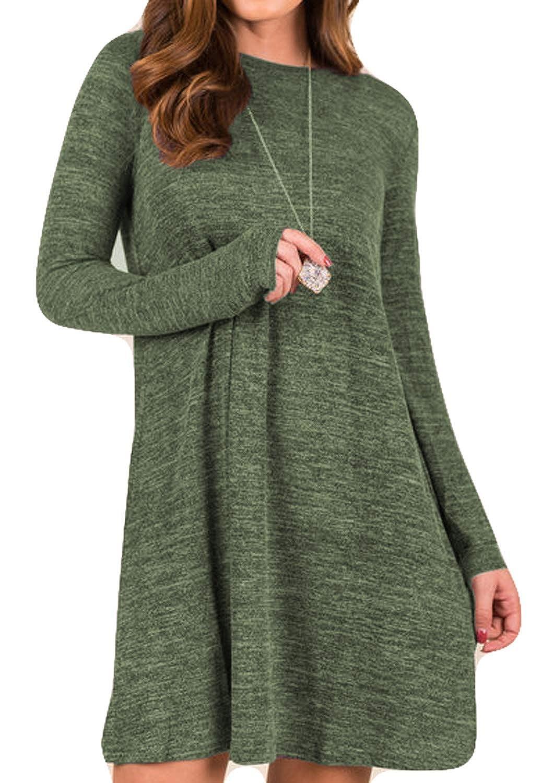 Green POGTMM Women's Short Sleeve Solid Loose Asymmetrical Hem Casual TShirts Tunic Dress