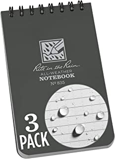 "product image for Rite in the Rain All-Weather Top-Spiral Notebook, 3"" x 5"", Gray Cover, Universal Pattern, 3 Pack (No. 835-3), Grey"