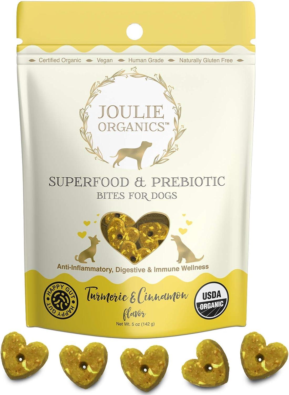 Joulie Organics - Superfood & Prebiotic Organic Dog Treats | Human Grade | USA Made | Plant-Based | Supports Digestive & Immune Health (Turmeric & Cinnamon)