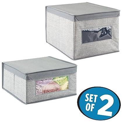 mDesign Juego de 2 cajas de almacenamiento con diseño de yute – Cajas para organizar mantas
