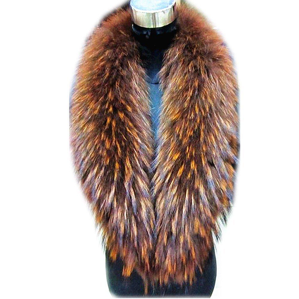 gegefur Large Long Detachable Natural Raccoon Fur Collar for Winter