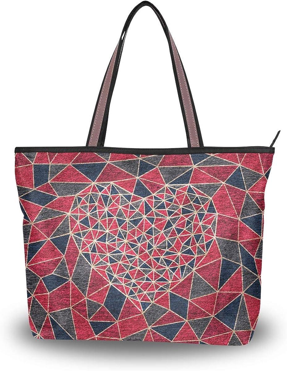 Tote Bag Valentines Day Geometric Love Heart Handbag Satchel with Shoulder Length Handles for Women