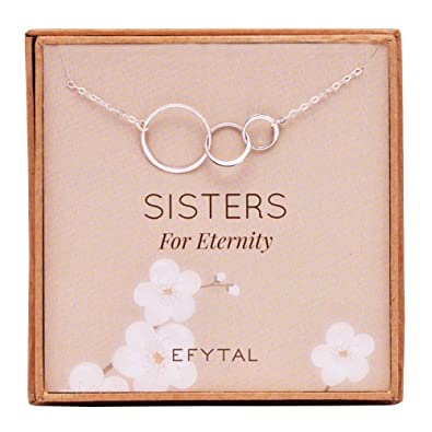 Amazon EFYTAL Sister Gifts From 925 Sterling Silver Three Circle Necklace Birthday Jewelry Gift Necklaces For 3 Sisters Eternity