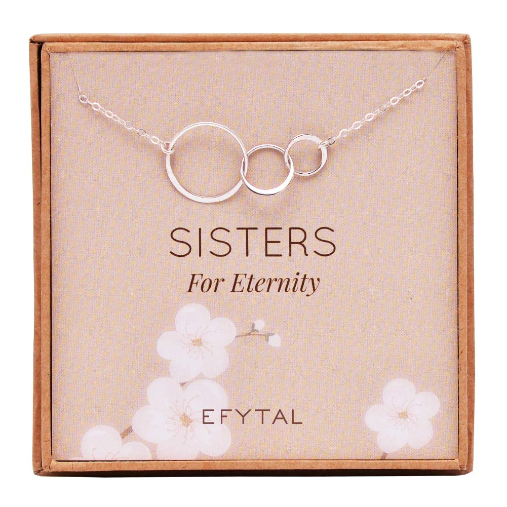 EFYTAL Sister Gifts from Sister, 925 Sterling Silver Three Circle Necklace, Birthday Jewelry Gift Necklaces for 3 Sisters for Eternity