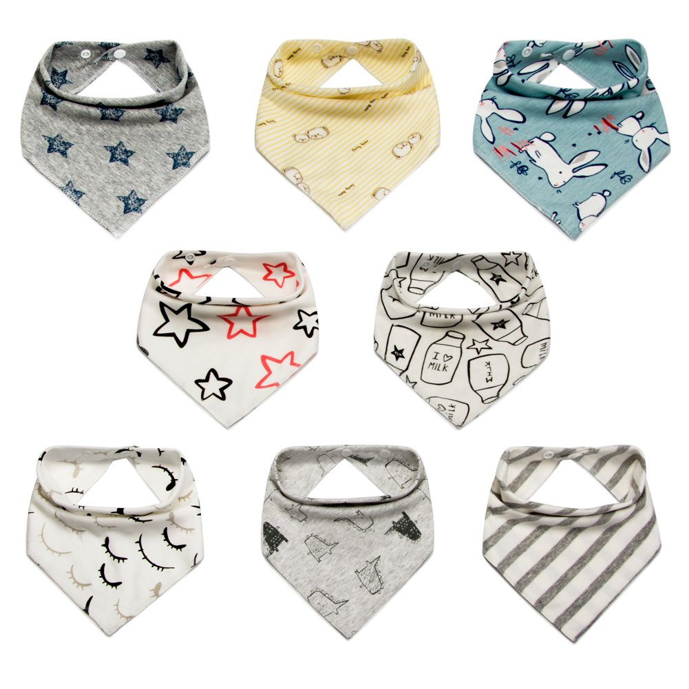 Lekebaby Baby Bandana Drool Bibs 8 Pack Set for Boys and Girls 100% Organic Cotton Soft and Absorbent Baby Drool Bibs for Drooling and Teething