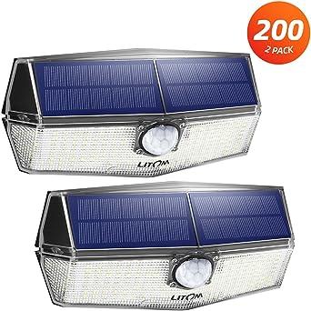 Litom Solarleuchten 200 LED Solarlampen mit Bewegungsmelder Wandleuchte 2er Set