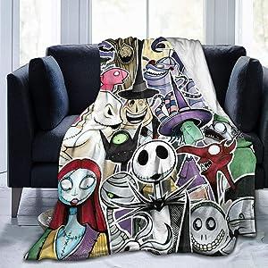 "Nightmare Before Christmas Ultra Soft Throw Blanket Flannel Fleece All Season Light Weight Living Room/Bedroom Warm Blanket,Black,50"""" x40"
