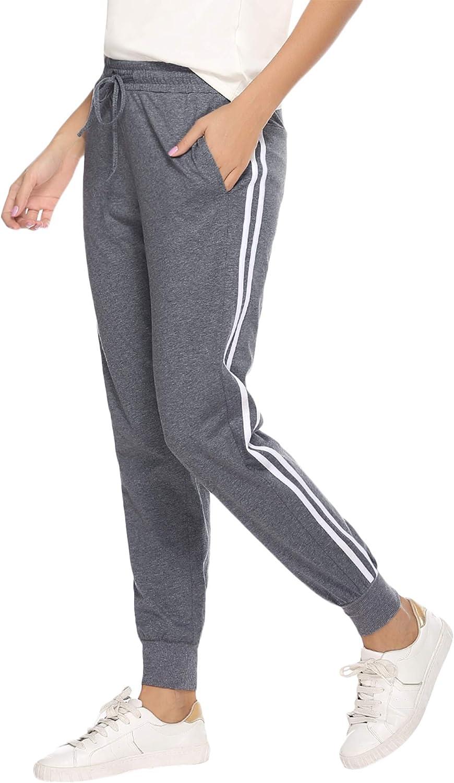 Hawiton Pantalon Chandal Mujer Largos Pantalones de Deporte Yoga Fitness Jogger Pantalones de Punto de Rayas