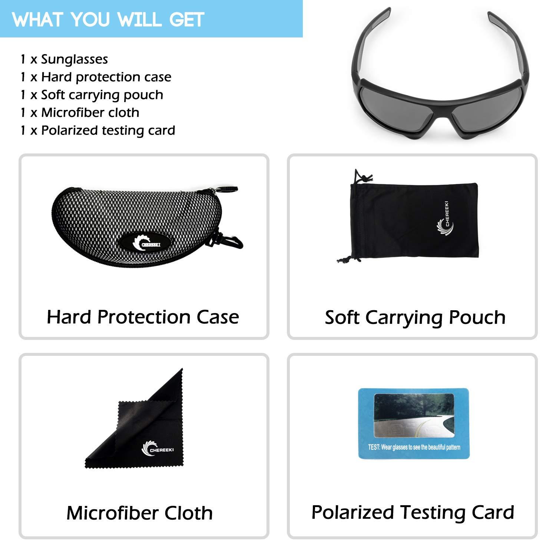 CHEREEKI Gafas de Sol Deportivas Polarizadas, Ultralight Conducción de Gafas de Sol con UV400 Anti-Reflexivo TR90 Gafas para Hombres y Mujeres, ...