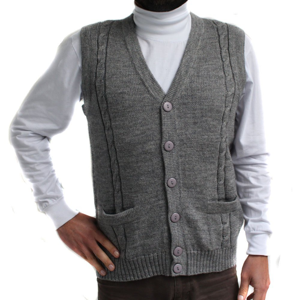 CELITAS DESIGN Alpaca Vest Golf Sweater Jersey BRIAD V Neck Buttons and Pockets Made in Peru Grey 4XL