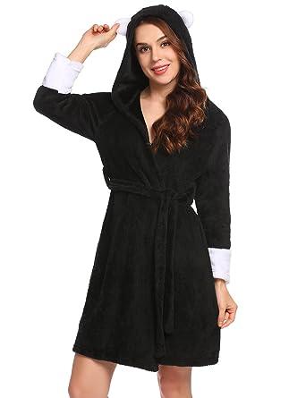 Ekouaer Women s Fleece Bathrobe Kimono Robes Hooded with Two Ears Lounge  Robe S-XXL b17390cb8