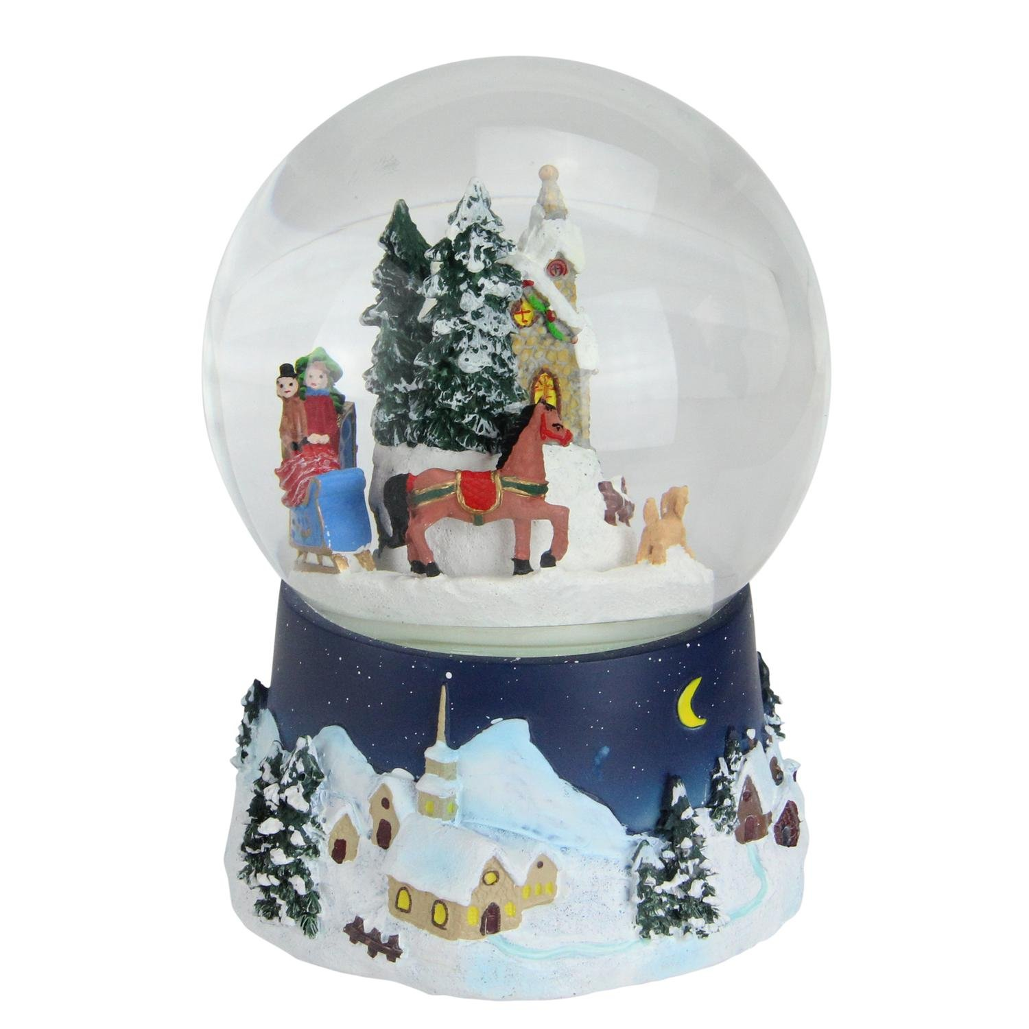 Northlight 6.5'' Musical and Animated Christmas Villiage Winter Scene Rotating Water Globe Dome