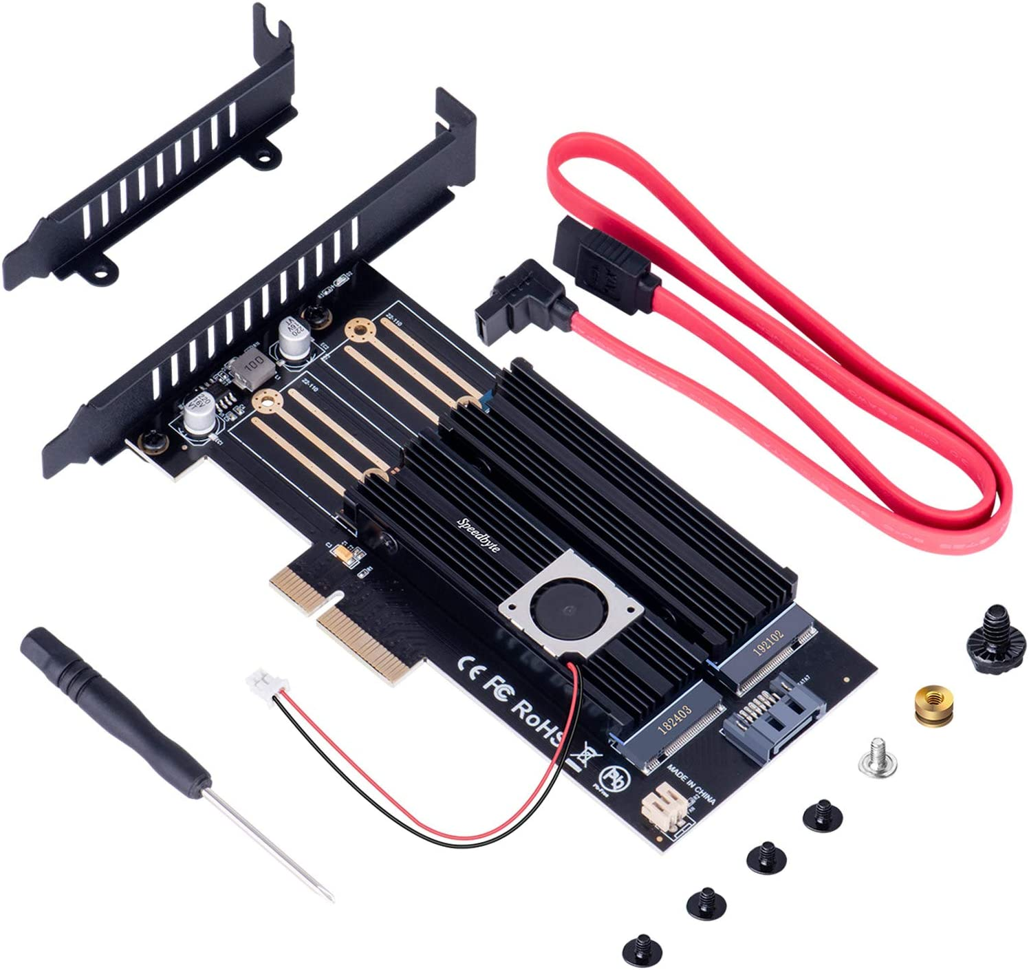 M Key B Key and M2 SATA SSD M.2 PCIe Adapter Support M.2 NVME SSD New NVMe SSD Dual Expansion Card 22110 2280 2260 2242 2230 NGFF SSDs PCI-e 3.0 x4 Slot with Fan Cooler and Heatsink for PC