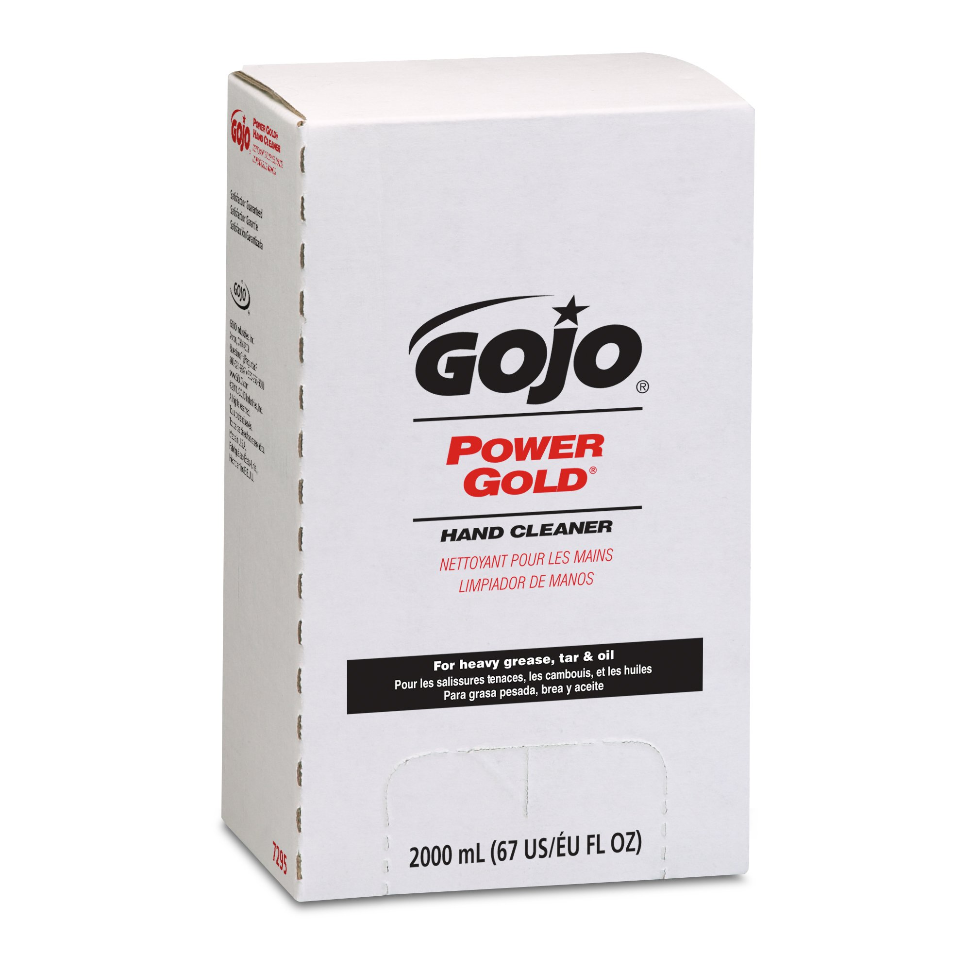 GOJO 7295 POWER GOLD Hand Cleaner, Citrus Scent, 2000mL Refill (Case of 4),Compatible with Dispenser #7200-01