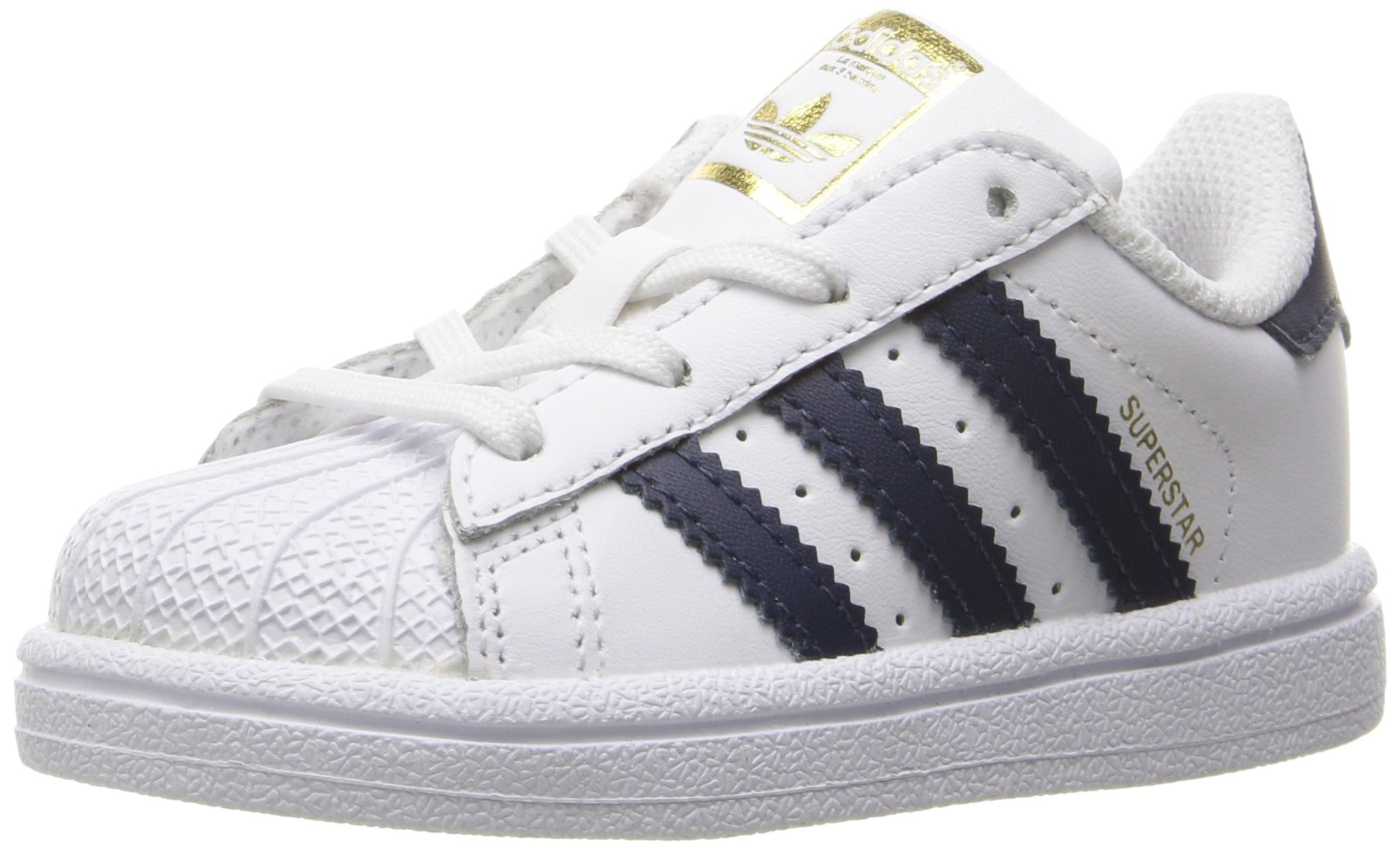 adidas Originals Kids' Superstar, White/Collegiate Navy/Metallic Gold, 8K M US Toddler
