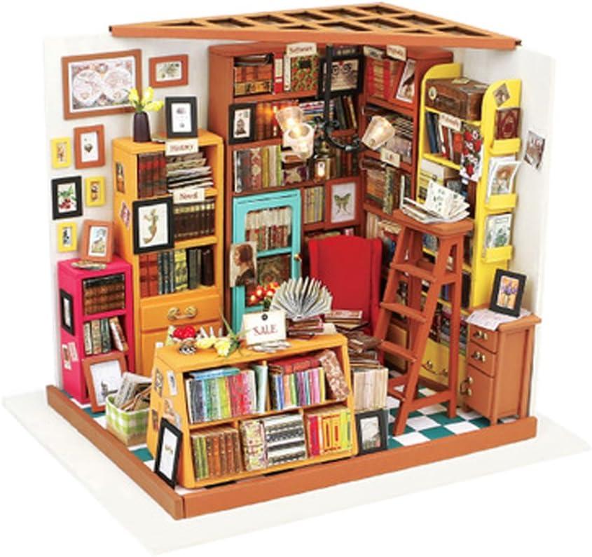 KEHUASHINA Puppenhaus Creative Miniatur DIY Library House Kits besten Frauen /& M/änner