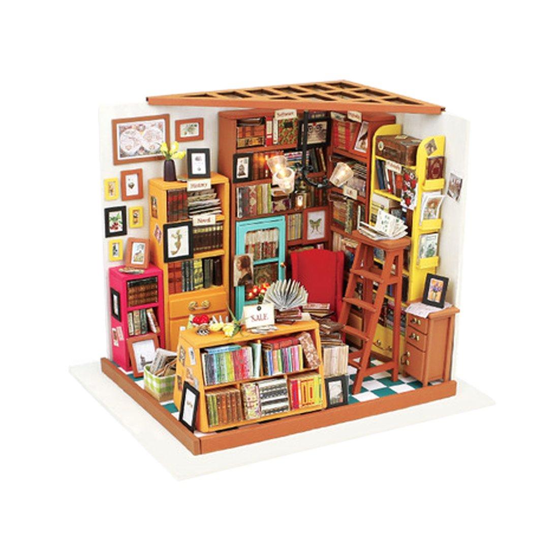 Kehuashina Dollhouse Creative Miniature DIY Library House Kits Best for Women & Men