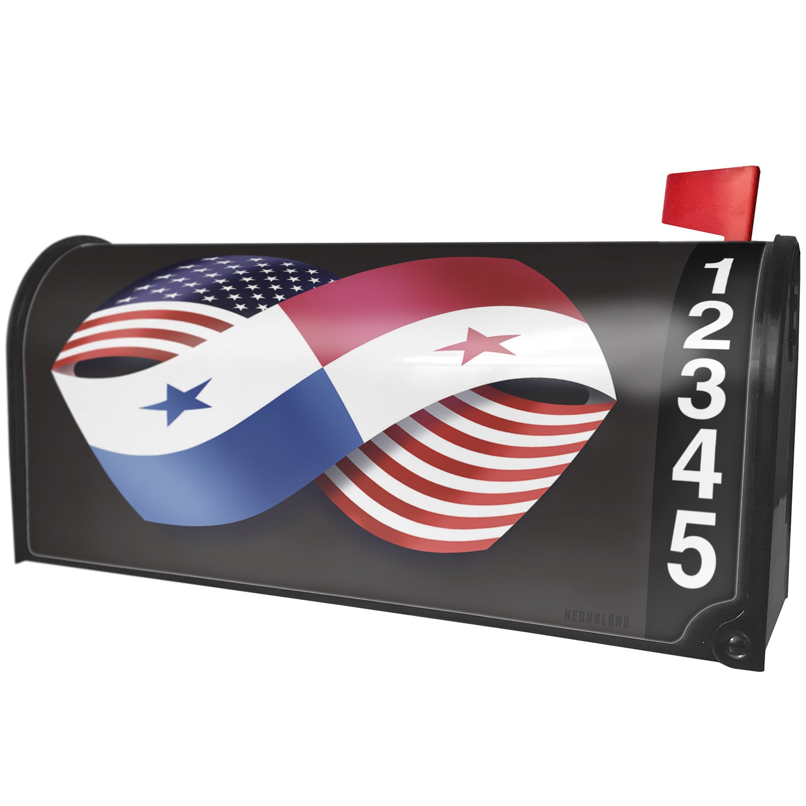 NEONBLOND Friendship Flags USA and Panama Magnetic Mailbox Cover Custom Numbers by NEONBLOND