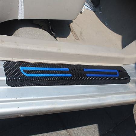 Für Kamiq Fabia Karoq Kodiaq Octacia Einstiegsleisten Schutz Aufkleber Verschleiß Vermeiden Verhindern Sie Kratzer Rutschfest Kohlefaser 4stück Blau Auto