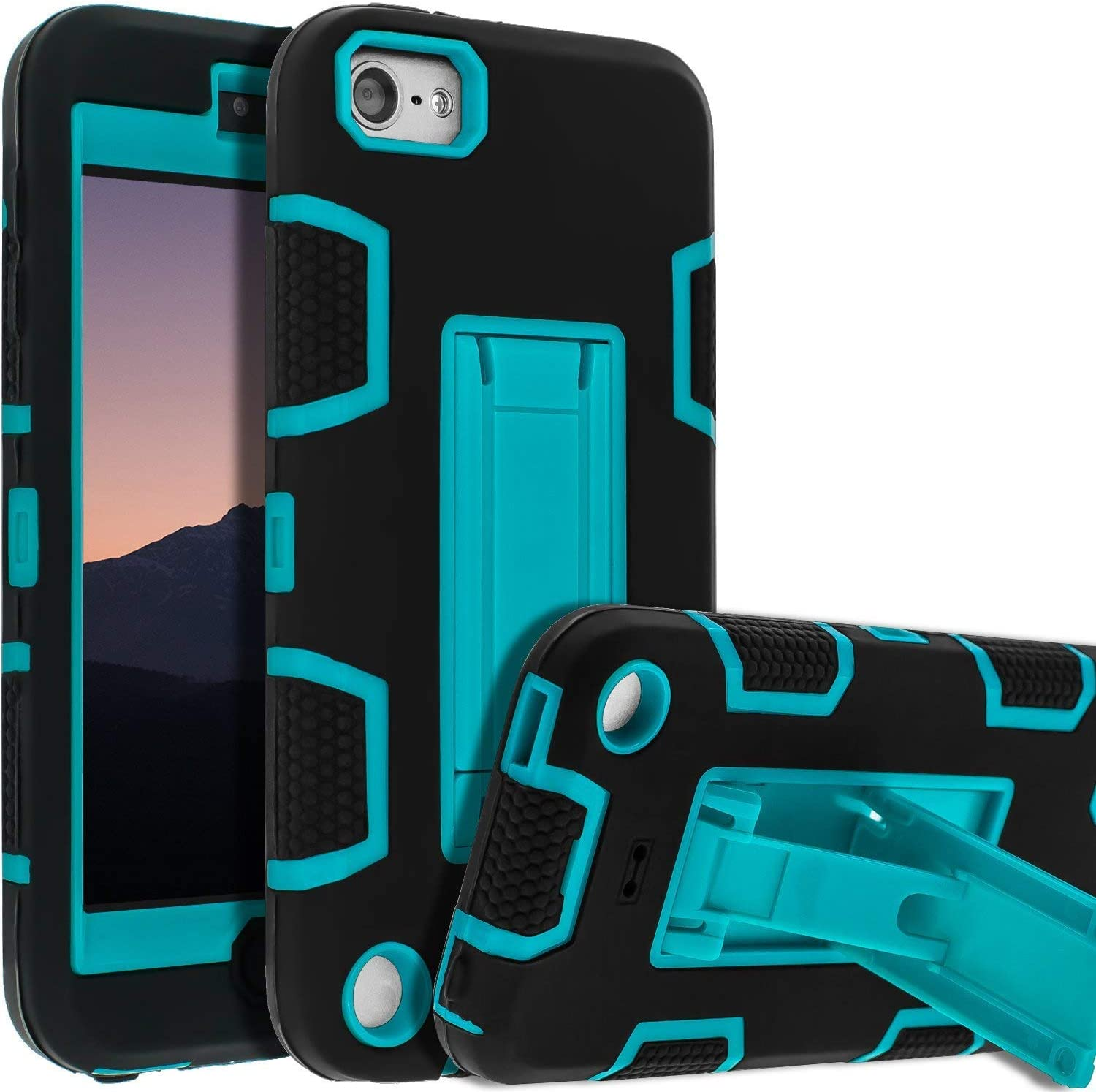 iPod Touch 7th Gen Case,iPod Touch 6th Gen Case,Kickstand Case for iPod Touch,Anti-Scratch Anti-Fingerprint Heavy Duty Protection Shockproof Rugged Cover Apple iPod Touch 2019,Blue-2