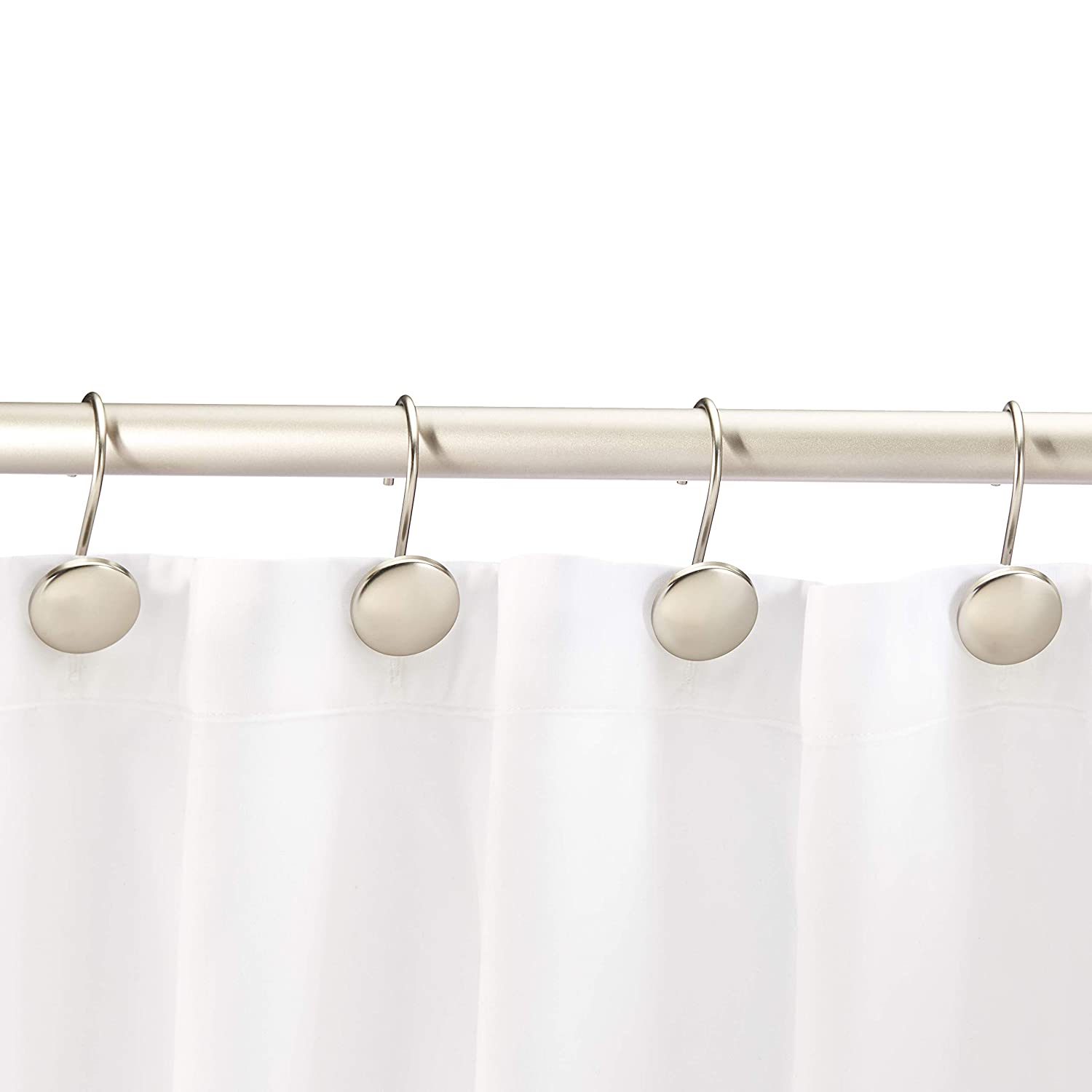 Nickel Basics Shower Curtain Hooks Beaded Circle