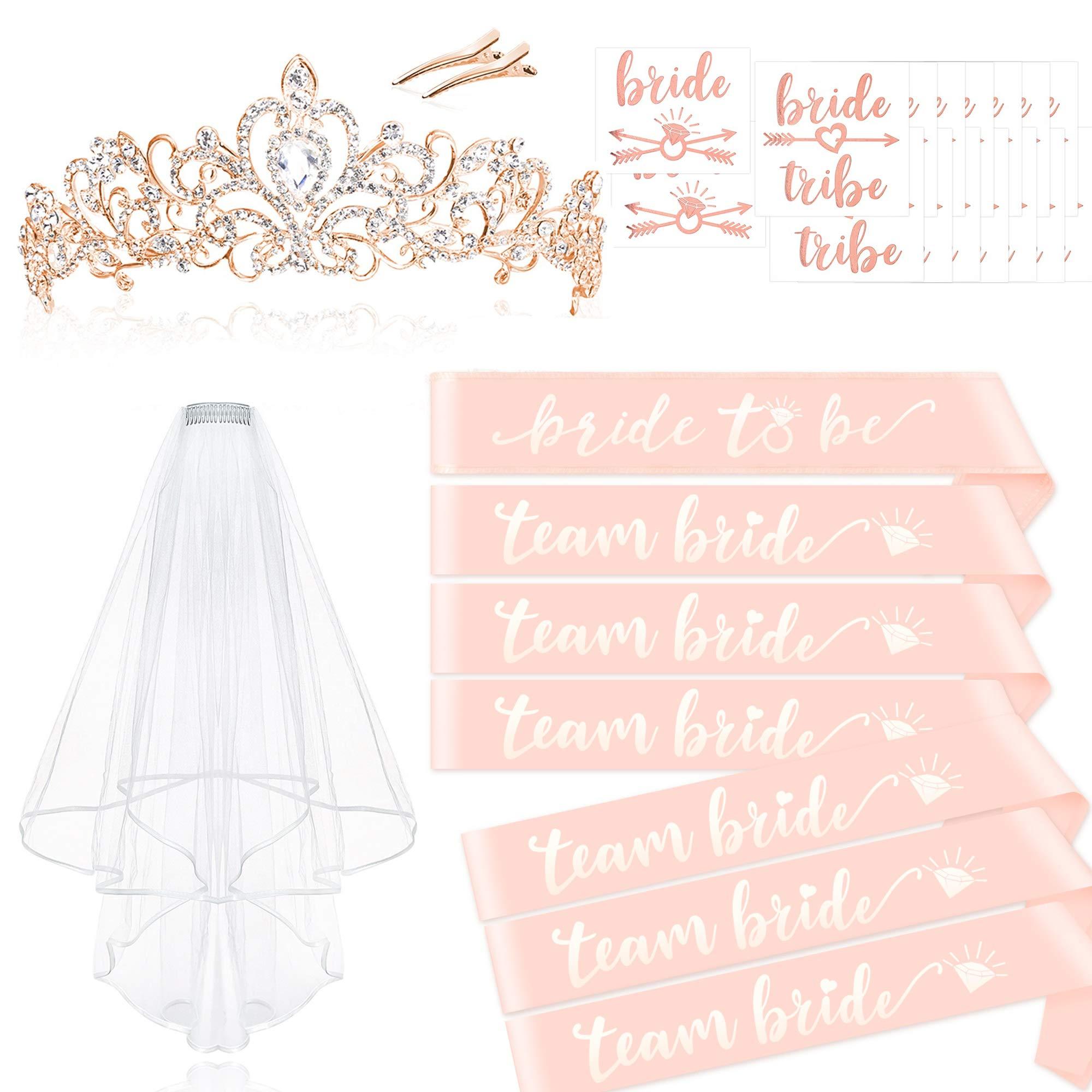 Konsait Rose Gold Pink Bachelorette Party Decorations Kit - Bridal Shower Supplies | Bride to Be Team Bride Sash, Rhinestone Tiara,Veil with Comb+ Bride Tribe Tattoo,Wedding Bridal Shower