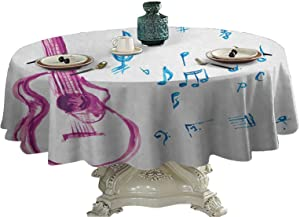 Guitar Food Round Tablecloth Watercolor Musical Instrument with Notes Sheet Elements Brush Stroke Effect Outdoor Picnics 45 inch