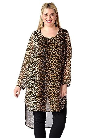 Yoek Camisas - Animal Print - Cuello redondo - Manga Larga - para mujer leopardo 40: Amazon.es: Ropa y accesorios