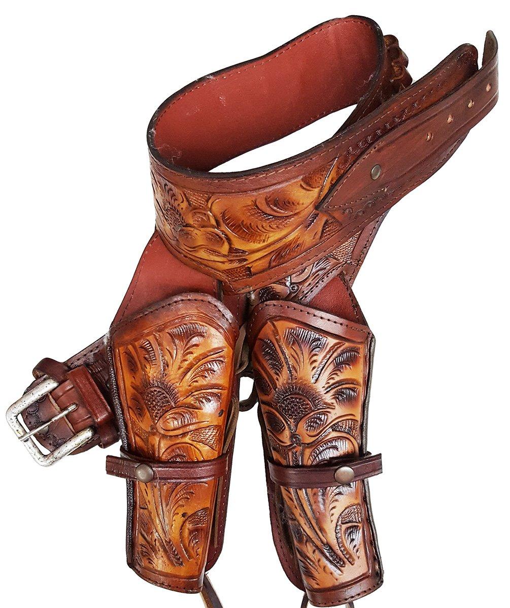 Modestone Western Leather Double Holster Gun カウボーイベルト Rig 44/45 Revolver 38 B074T56DJR 97 cm/38'' Beige Beige 97 cm/38''