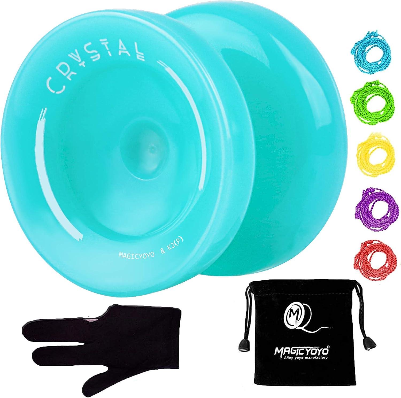 Plastic Ball Bearing Yoyo Yoyo Bag Crystal Green YOSTAR MAGICYOYO K2 PLUS CRYSTAL Responsive Yoyo for Kids Yo-yo for Beginner Yo Yo Glove Gift 5 Yoyo Strings for Replacement