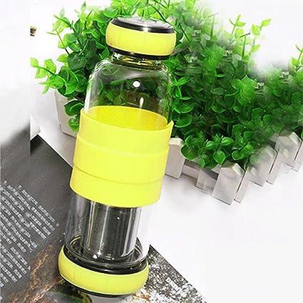 Flower205 Botella de agua deportiva - 420ml Taza de té de borosilicato alta dos extremos con